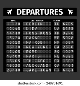 Airport retro analog departure board timetable travel background vector illustration