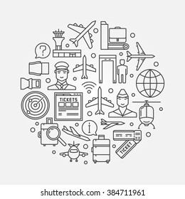 Airport round illustration - vector airport concept symbol. Tourism or air travel background in thin line style