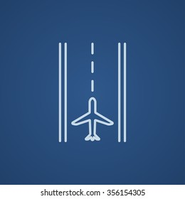 Airport runway line icon for web, mobile and infographics. Vector light blue icon isolated on blue background.