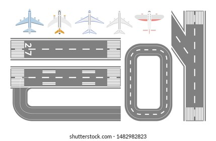 Airport runway track and airplane types set - isolated flat collection of asphalt airstrip roads and different planes seen from top view - cartoon vector illustration
