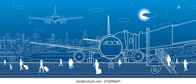 Airport scene. The plane is on the runway. Aviation transportation infrastructure. Airplane fly, people get on the plane. Night city on background, vector design art