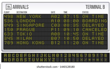 Airport scoreboard. Digital LED board font, arrivals and departures signs. Departure railway information, arrival abc and numbers info display realistic symbols vector illustration