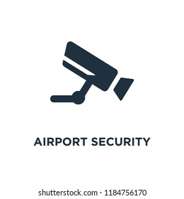 Airport Security Camera icon. Black filled vector illustration. Airport Security Camera symbol on white background. Can be used in web and mobile.