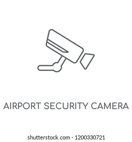 Airport Security Camera linear icon. Airport Security Camera concept stroke symbol design. Thin graphic elements vector illustration, outline pattern on a white background, eps 10.