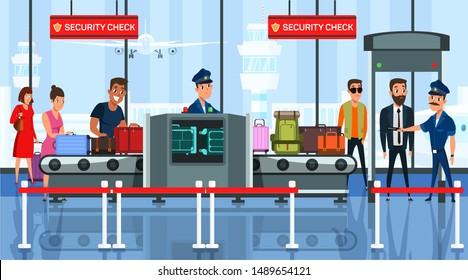 Airport security check flat vector illustration. Passenger with suitcases characters in departure lounge. Tourists with luggage in airport terminal cartoon drawing. Baggage in security x-ray machine
