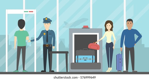 Airport security check. People and luggage are checked by police in the detector gate and x-ray.