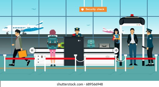 Airport security checkpoint officers are waiting for passengers to check their baggage.