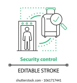 Airport security control concept icon. Successful baggage check thin line illustration. Vector isolated outline drawing. Editable stroke