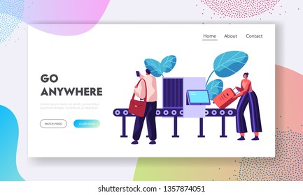 Airport Security Conveyor Belt Scanner Landing Page. Terminal Checkpoint Metal Detector with Traveler Characters and Baggage. Passengers Check Luggage on X-ray Website Banner. Vector flat illustration