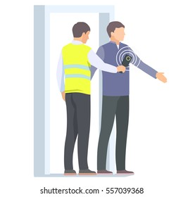 Airport security guard checking passenger with metal detector and scanner. Vector illustration