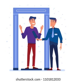 Airport security guard on metal detector check point. Full body scanner. Passenger at security check gate. Vector flat design illustration on white background.