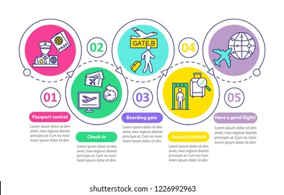 Airport security vector infographic template. Business presentation. Airport services Data visualization with five steps and options. Passport control, baggage check. Process chart. Workflow layout
