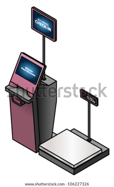 Airport Self Service Check Boothkiosk Attached Stock Vector (Royalty