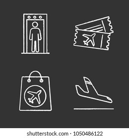 Airport service chalk icons set. Portal metal detector, flight tickets, duty free purchase, airplane arrival. Isolated vector chalkboard illustrations