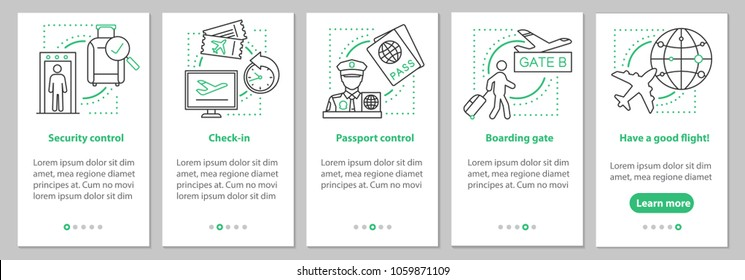 Airport service onboarding mobile app page screen with linear concepts. Airplane boarding steps graphic instructions. UX, UI, GUI vector template with illustrations