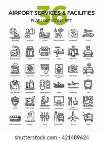 Airport services and facilities quality flat line vector icons set. Airway travel outline symbols bundle. Linear pictograms on customs, arrivals, departure, showers, prayer room, lost luggage and more