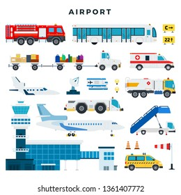 Airport, set of icons. Airport building, control tower, aircraft, vehicles of the airport ground services, information signs, runway lights, radar, wind indicator. Vector illustration in flat style.