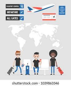 Airport set. Travel collection. Signs and symbols, world map, passengers. Departure concept. Flat editable vector illustration, clip art