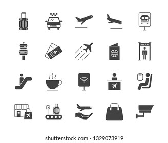Airport set of vector icons silhouettes