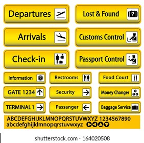 airport sign custom baggage taxi restroom check-in departure arrival food-court money changer