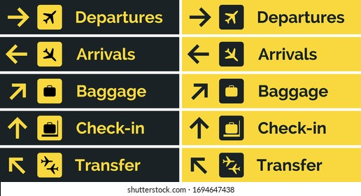 Airport sign departure arrival travel icon. Vector airport board airline sign, gate flight information.