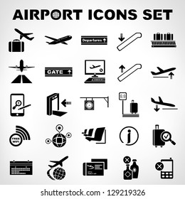 airport sign, airport icons set