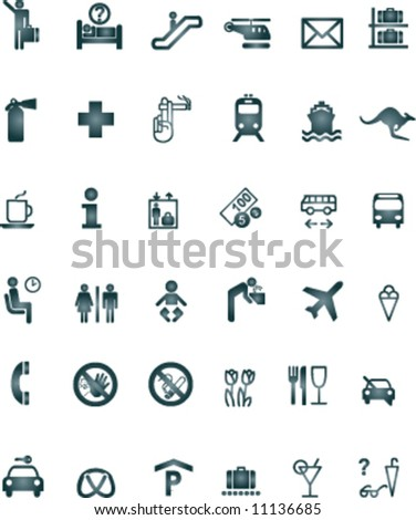 Airport Signs Symbols Black Light Stock Vector Royalty Free