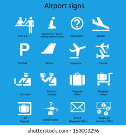 Airport signs vector set