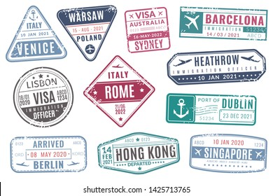 Airport stamps. Vintage travel passport visa immigration arrived stamp with grunge texture. Europe tourism isolated vector set