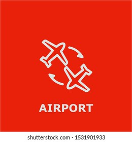 Airport symbol. Outline airport icon. Airport vector illustration for graphic art.