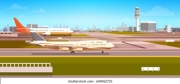 Airport Terminal With Aircraft Flying Plane Taking Off Flat Vector Illustration