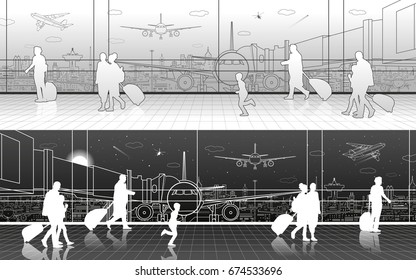 Airport terminal, aircraft on runway, airplane takeoff, aviation scene, passengers expect flight, transportation infrastructure on background, vector design art