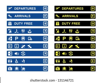Airport terminal banners and symbols