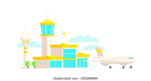 Airport terminal building and airplane. Passenger air transportation. Flat vector colorful illustration.