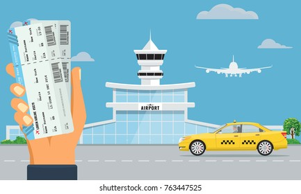 Airport terminal building and yellow taxi. Hand holding two air tickets. Urban background flat and solid color design. Illustrated vector.