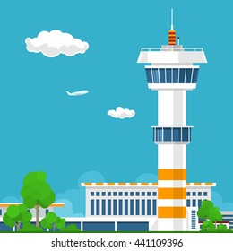 Airport Terminal with Control Tower ,Travel and Tourism Concept , Vector Illustration