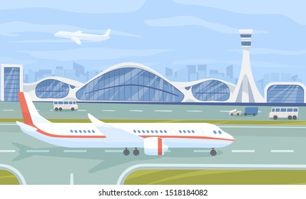 Airport terminal flat vector illustration. Aviation industry, airline company facilities. Airplane on airfield runway color composition. Plane, buses near airport building. Air transport, aircraft.