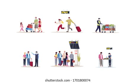 Airport terminal flat vector illustrations set. Pandemic precaution healthcare check on border. People in medical masks hurry for departure. Airplane passengers isolated cartoon characters kit