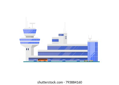 Airport terminal with flight control tower. Modern air passenger infrastructure vector illustration. Worldwide traveling, air transportation business, commercial airline.