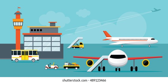 Airport, Terminal, Ground Work, Aircraft, Commercial Aviation, Aerial Transport