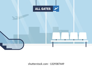 Airport terminal. Interior. No people. Waiting area. All gates. Boarding. Flat editable vector illustration, clip art