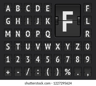 Airport terminal mechanical flip scoreboard alphabet font with numbers to display flight departure, destination or arrival information and timetable. Vector illustration.