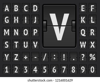 Airport terminal mechanical scoreboard alphabet with numbers for showing flight departure or arrival information. Black flip board regular font to display destination and timetable vector illustration