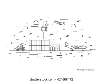 Airport (terminal, plane, transportation) linear vector illustration. Airport creative graphic concept. Airport graphic design.