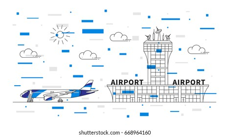 Airport (terminal, plane, transportation) linear vector illustration with colorful elements. Airport with colorful airplane graphic concept. Aviation (airline, airstrip) line art graphic design.