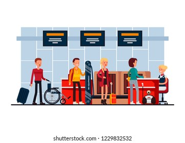 Airport terminal security check-in desk, vector illustration in flat style. Passengers and their hand baggage undergo thorough security control.