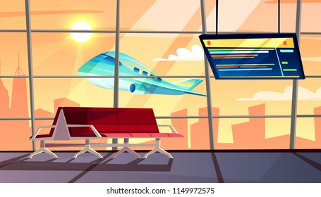 Airport terminal vector illustration of waiting hall with departure or arrival flight schedule and passenger chairs. Vector cartoon interior background with airplane take off in window