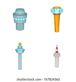 Airport tower icon set. Cartoon set of airport tower vector icons for your web design isolated on white background