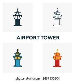 Airport Tower icon set. Four elements in diferent styles from airport icons collection. Creative airport tower icons filled, outline, colored and flat symbols.