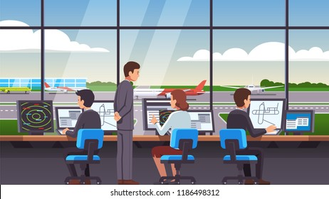 Airport traffic control tower interior & computer navigation terminal workplace. Controllers team worker people & supervisor working with plane, airliner & jet on runway. Flat vector illustration